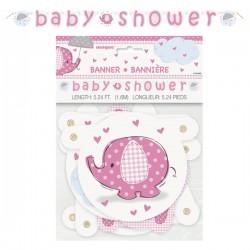 Bannière éléphant rose pour Baby Shower