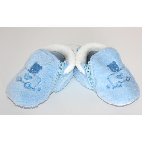 Pantoufles bleues ourson