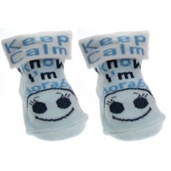 "Chaussettes ""Keep calm I know I'm adorable"" bleu"