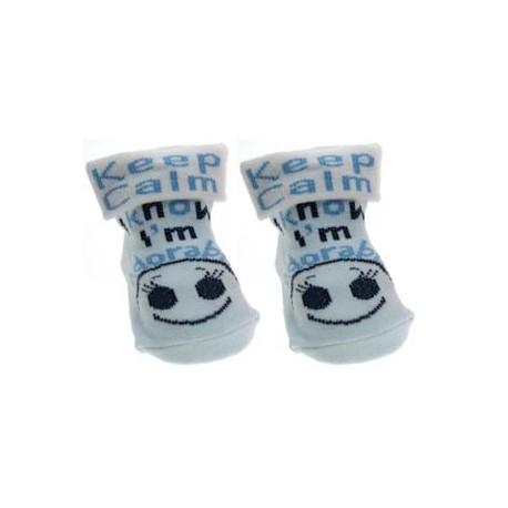 Keep calm I know I'm adorable socks blue