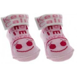 "Chaussettes ""Keep calm I know I'm adorable"" rose"