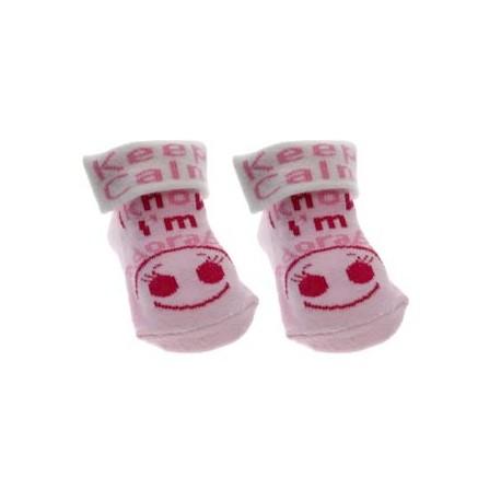 Keep calm I know I'm adorable socks pink