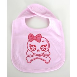 """Skull and crossbones"" pink Bib"