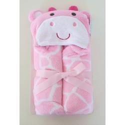 Couverture girafe à capuche rose
