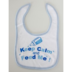 "Slabbetje ""Keep calm and feed me"" blauw"