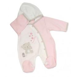 """Pyjama met hoedje """"klein beertje"""" roze"""