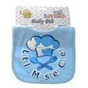 """Little Master Chef"" cotton bib with glitter print blue"