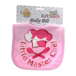 """Little Master"" Chef cotton bib with glitter print pink"