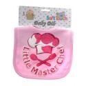 """Little Master"" Chef cotton bib with glitter print pink"