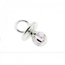 Zilveren fopspeen met kristal roze