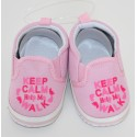 "Petites chaussures ""Keep Calm and help me walk"" roses"