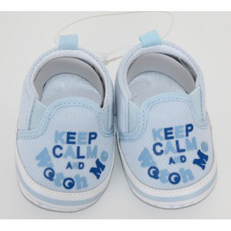 "Blauwe ""Keep Calm"" schoentjes"