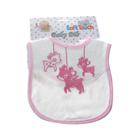 Cute Baby Cotton Bib with Embroidered Deer design pink