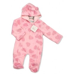 Cute Baby hooded all in one with heart design pink