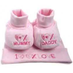 """Coffret cadeau bonnet + chaussons roses """"100% Love"""" naissance"""