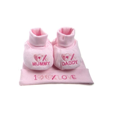 Soft Touch Newborn Pink Set Of Boots And Hat With 100% Love