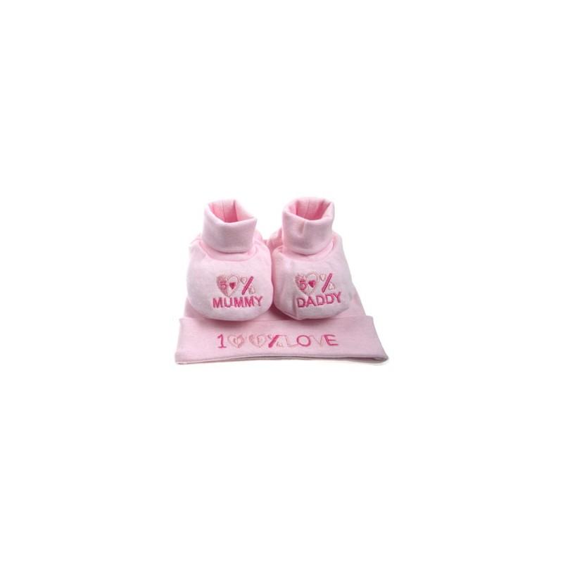 Coffret cadeau bonnet + chaussons roses