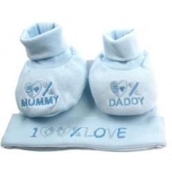 """Coffret cadeau bonnet + chaussons bleus """"100% Love"""" naissance"""