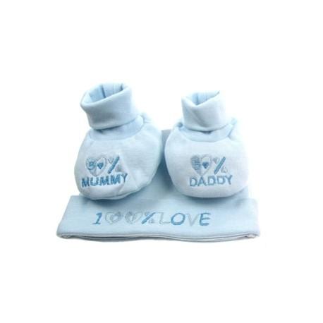 """100% Love"" cadeau set muts + sokjes blauw"