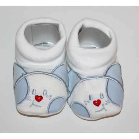 Cotton Twill Baby Bootees with puppy face blue