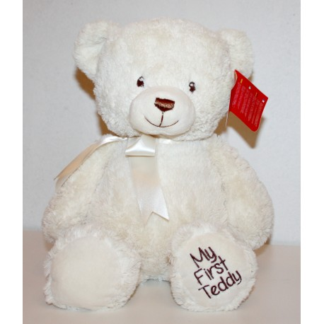 "Cream 40cm ""My First Teddy"" with Bow"