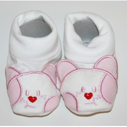Cotton Twill Baby Bootees with kitten face pink