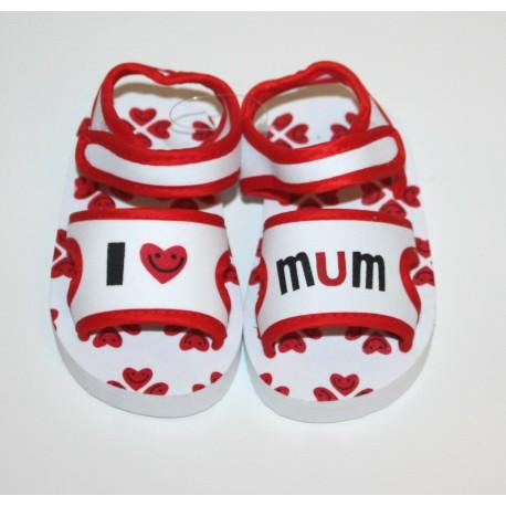 "Sandalen ""I love Mum"" wit en rood"
