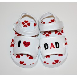 "Soft sandals ""I love Dad"" white"