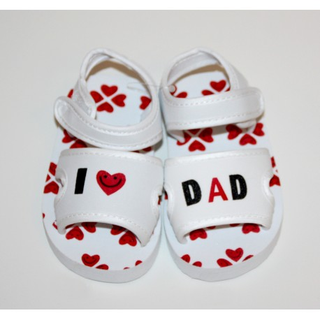"Sandales ""I love Dad"" blanches"