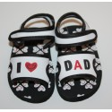 "Sandalen ""I love Dad"" wit en zwart"