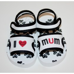 "Soft sandals ""I love Mum"" black and white"