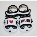 """Sandales """"I love Mum"""" blanches et noires"""
