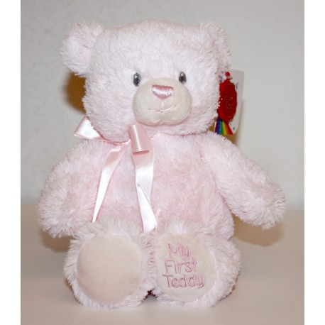 "Gorgeous 20cm ""My First Teddy"" Pink with Bow"