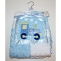 Soft dimple/fur curl applique blanket with satin trim