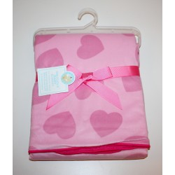 Heart double sided baby blanket pink
