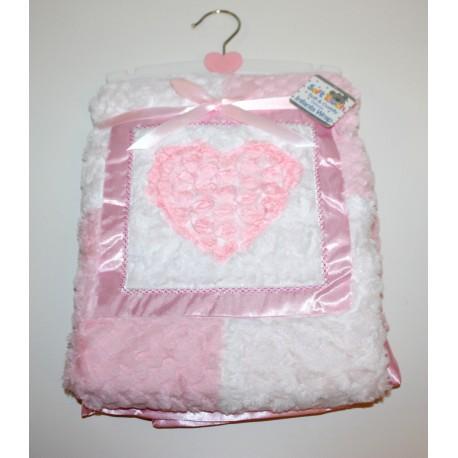 Soft dimple/fur curl applique blanket with satin trim