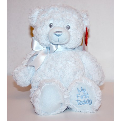 """Gorgeous 20cm """"My First Teddy"""" Blue with Bow"""