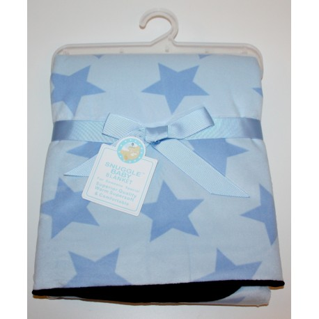Funky star double sided baby blanket blue