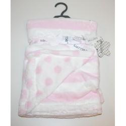 Gestreepte deken met stippen roze