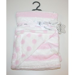 Super Soft plush stripe blanket with spots pink