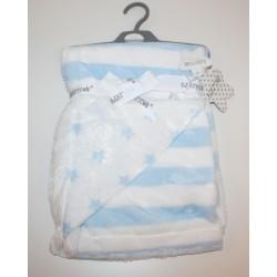 Super Soft plush stripe blanket with stars blue