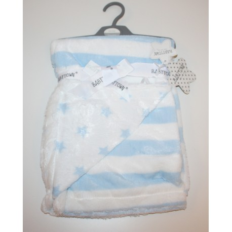 Super Soft plush stripe blanket with stars blue
