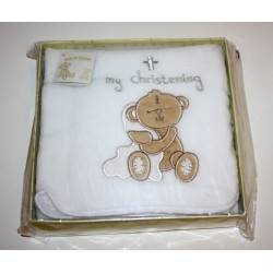 Button Corner Embroidered Blanket 70x70cm Christening