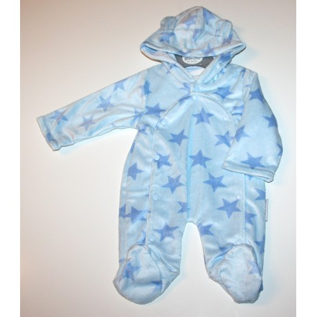 Cute Baby hooded all in one with star design blue