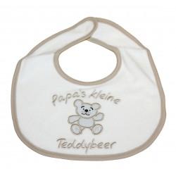 """Bavoir """"Papa's kleine Teddybeer"""" beige"""