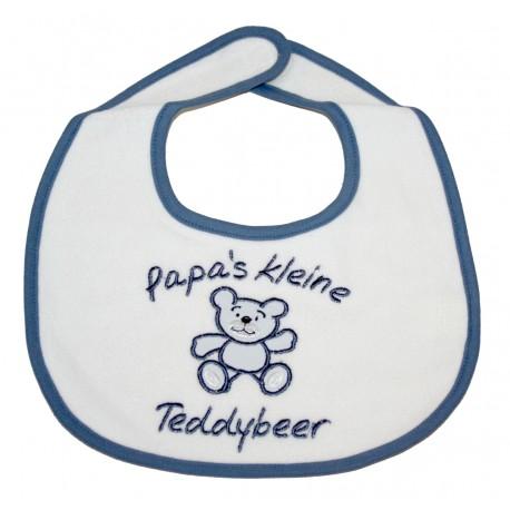 """Slabbetje """"Papa's kleine Teddybeer"""" blauw"""