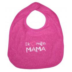"""Bib """"Ik hou van mijn Mama"""" fushia"""