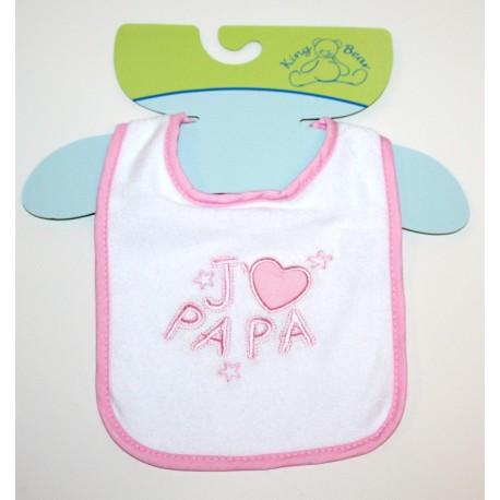 """Bib """"J'aime Papa"""" pink"""