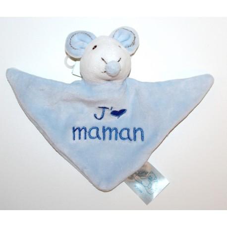"""Doudou souris """"J'aime Maman"""" bleu"""