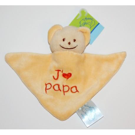 """Mini doudou ourson """"J'aime Papa"""" jaune"""